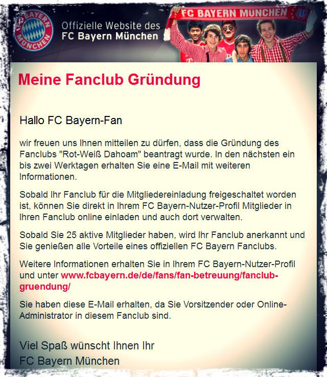 Anmeldung Fanclub